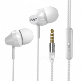 Portable Super Bass 3.5mm Wired In-Ear Earphone Earbuds Headset With Mic For Mobile Phone Gaming Use White