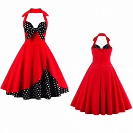 Summer Dress Halter Bow Strapless Patchwork Vintage Party Polka Dot Dresses For Women Red/S