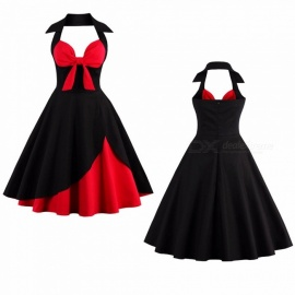 Summer Dress Sexy Halter Bow Strapless Patchwork Vintage Party Dresses For Women Black/S