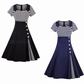 Large Size Vintage Style Striped A-Line Dress, Slim Waist Long Dress For Lady Black/S