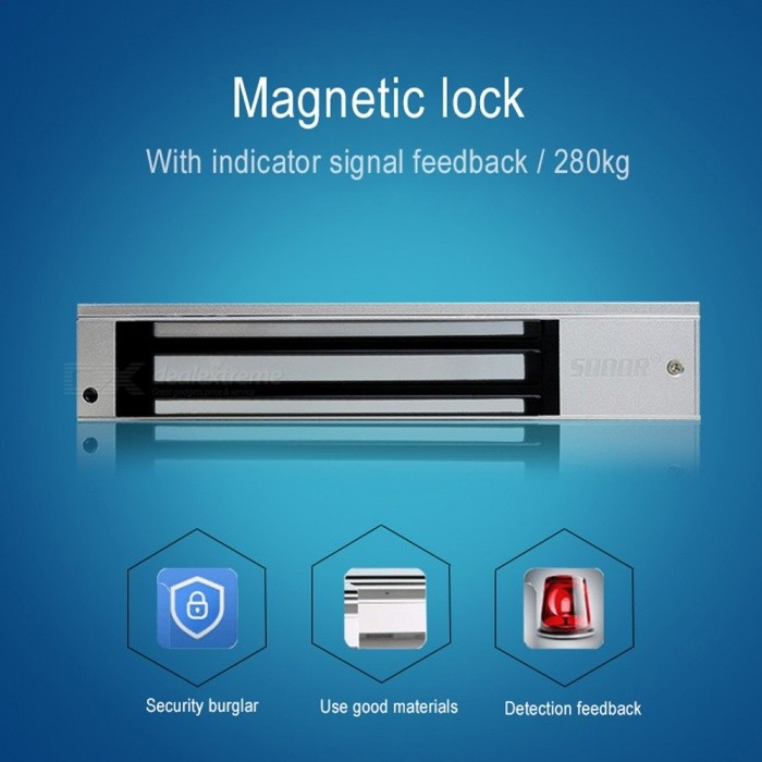 280KG 600Lbs Electric Door Magnetic Lock, DC 12V Door Electromagnetic Lock For Access Control As the Picture