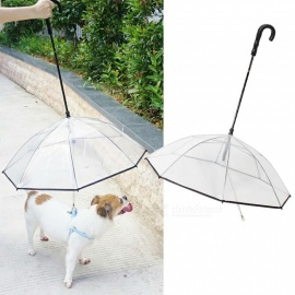 Transparent PE Pet Umbrella, Small Dog Umbrella Rain Gear With Dog Leads, Keeps Pet Dry Comfortable In Rain Snowing Clear