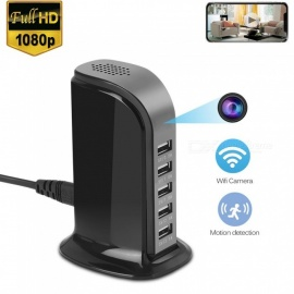 Desktop Wireless 5-Port USB Charger With Hidden Camera For Home / Office Use Black