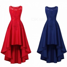 Summer Dress Plus Size Lace Slim Sleeveless High Low Hem Midi Vintage Party Dresses For Women Blue/S