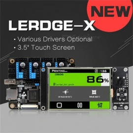 LERDGE-X 3D Printer Controller Board For Reprap With XYZ External A4988 Drive Motherboard, 3.5 Inches Touch Screen Black