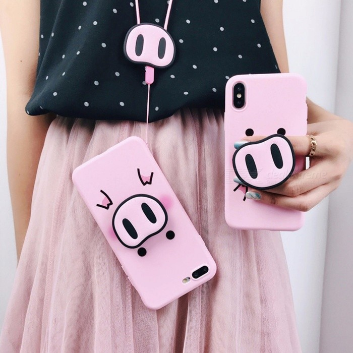 Pink Cartoon Pig Airbag Bracket Mobile Phone Case Al-inclusive Silicone Lanyard Cases For IPhone 7/8 Plus/X/XS/XS Max Pink/iphone7/8