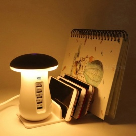 YWXLight  5 Port USB Charger Mushroom Night Lamp USB Charging Station Dock