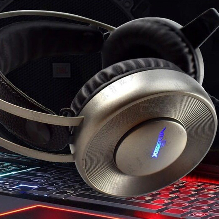 V12 Wired Gaming Headphone Over Ear Headset Noise Cancelling Headphone With Microphone, LED Backlight Silver