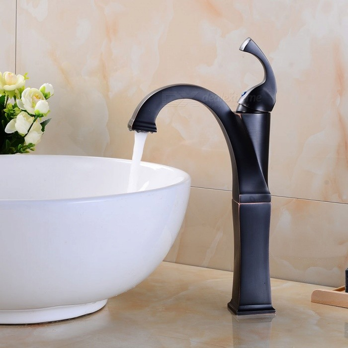 Brass Oil-rubbed Bronze Ceramic Valve One-Hole Bathroom Sink Faucet w/ Single Handle