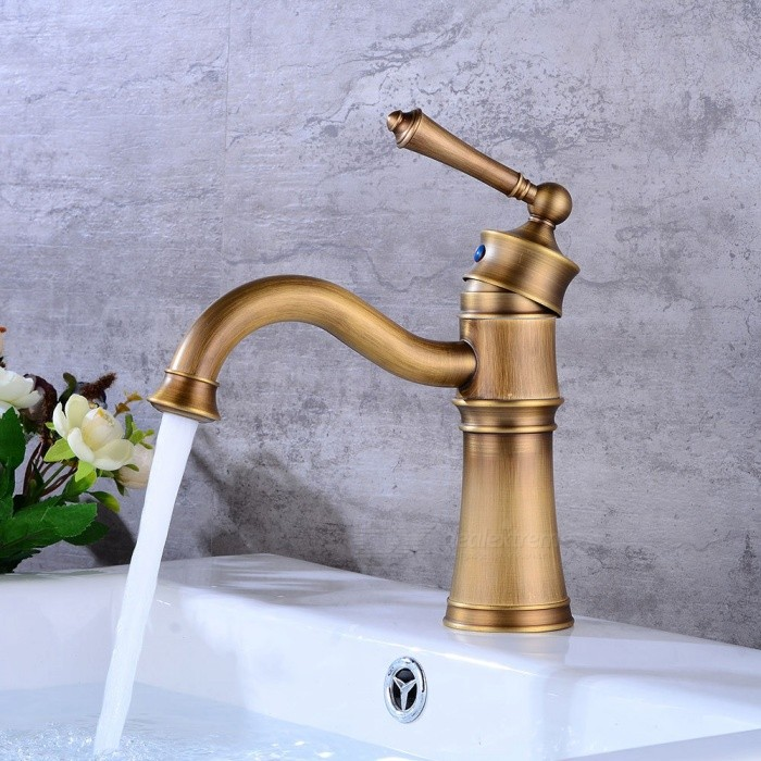 Antique Brass 360 Degree Rotatable Deck Mounted Ceramic Valve One Hole, Bathroom Sink Faucet w/ Single Handle