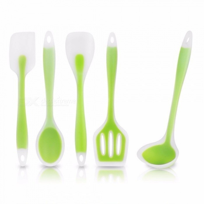 JEDX Silicone Kitchenware 5 sets Pieces Cooking Baking Utensils Tool Non-Stick Non-Scratch Kitchen Set
