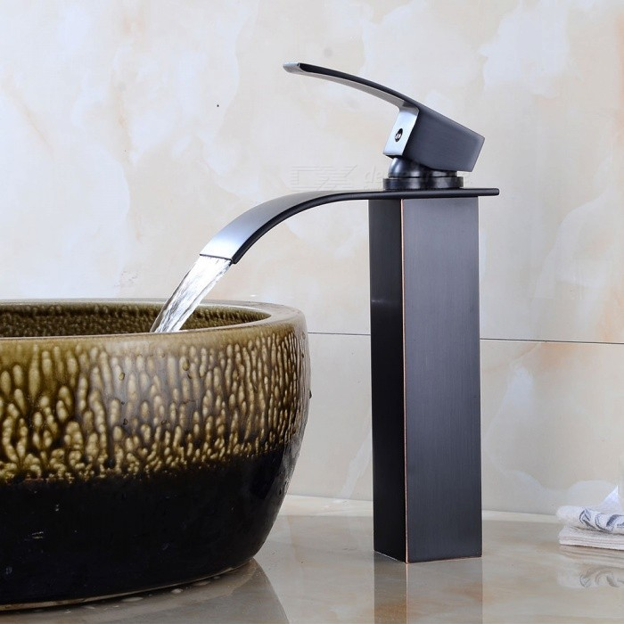 Brass Oil-rubbed Bronze Waterfall Ceramic Valve One-Hole Bathroom Sink Faucet w/ Single Handle