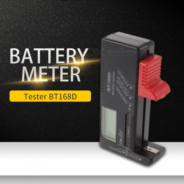 BT-168D Portable Easy-to-read Universal Digital Battery Tester, Volt Checker Multiple Size Battery Capacity Tester Black