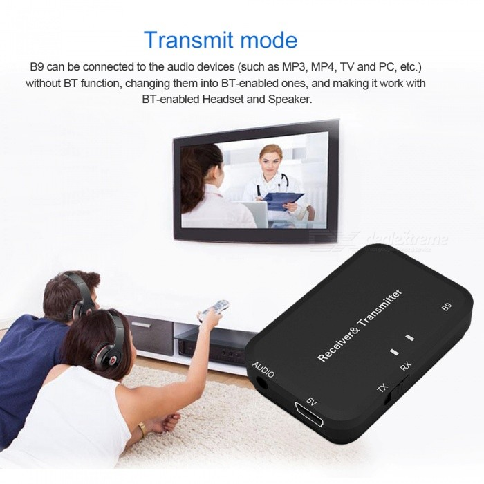 B9 Bluetooth Audio Transmitter & Receiver 2 in 1 Wireless Bluetooth Audio Adapter