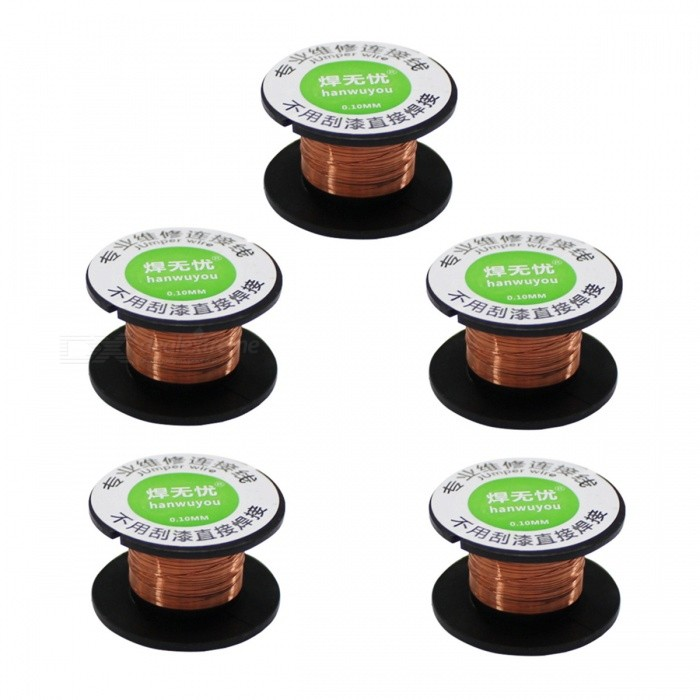 ZHAOYAO 5pcs 15m Length Copper Soldering Welding Wire Reel PPA Enamelled Repair Tools 0.1mm Diameter