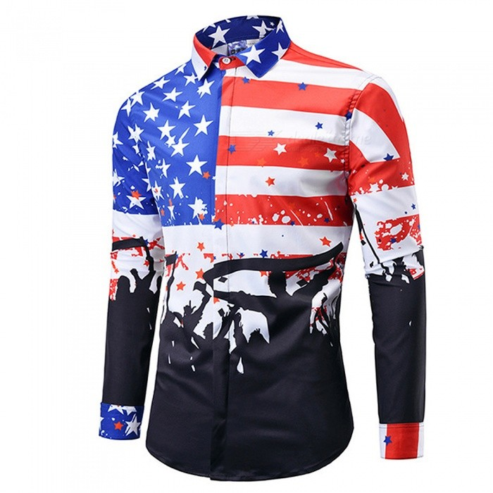 CXCY807001# New Fashion Long Sleeve 3D National Flag Print Shirts, Casual Plus Size Men's Shirt