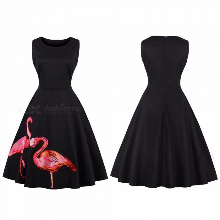 Autumn Large Size Vintage Hepburn Style Flamingos Embroidery Sleeveless Knee-Length Long Dress Black/S