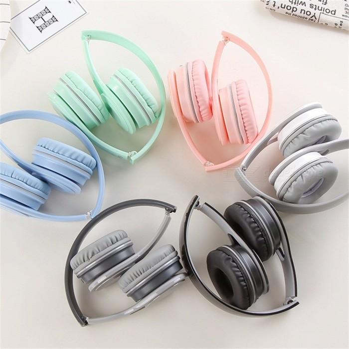 GJ-19 Portable Simple Folding 3.5mm Wired Headphone, Lightweight Headband Headset Fro Students White