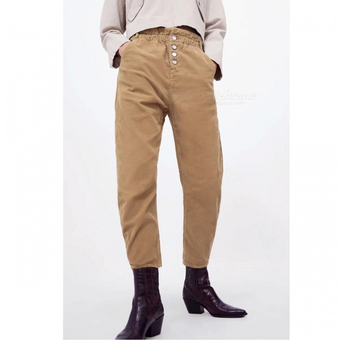 Women Corduroy Pants Autumn Winter Fashion Solid Color Elastic Waist Harem Loose Trousers Casual Pants Khaki/S