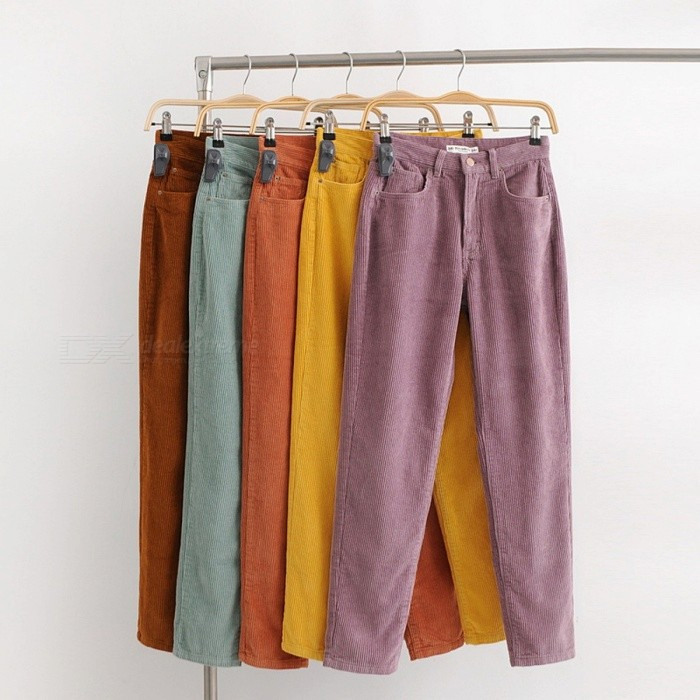 Vintage Macaron Color Corduroy Pants Women Mid Waist Ankle Length Loose Harem Trousers Casual Long Pants Brown/XS