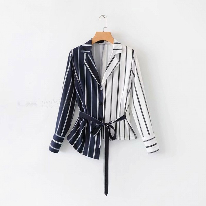 Women\'s Shirts Striped Irregular Blouses Long Sleeve Spliced Lace Up Shirt Asymmetrical Top Casual Wear Multi/S