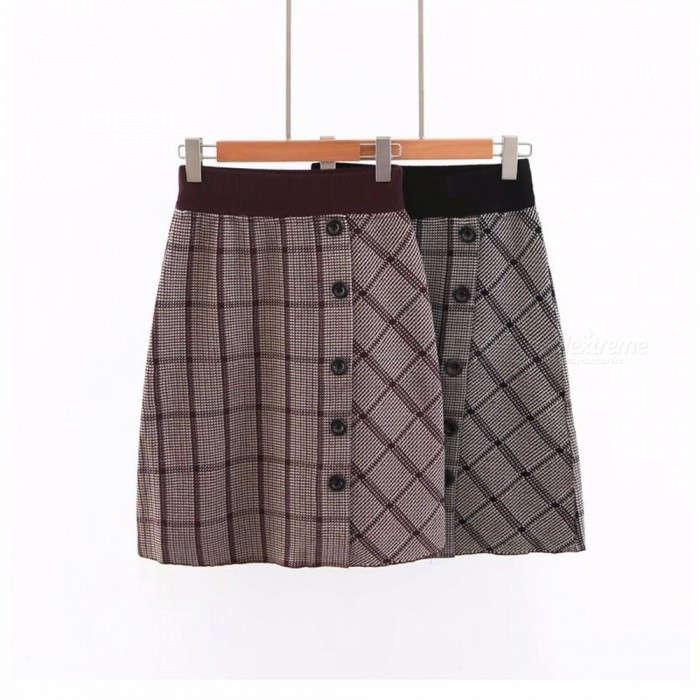 New Autumn Skirts Casual Fashion Plaid Button Knitted A-Line Knee-Length Dress For Women Black/One Size