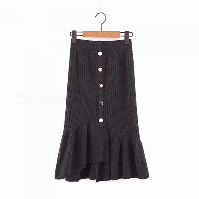reputable site c764f 192fc ... New Women  s Skirts Fashion Solid Color Asymmetrical Button Ruffled  Knitted Dress Black  ...