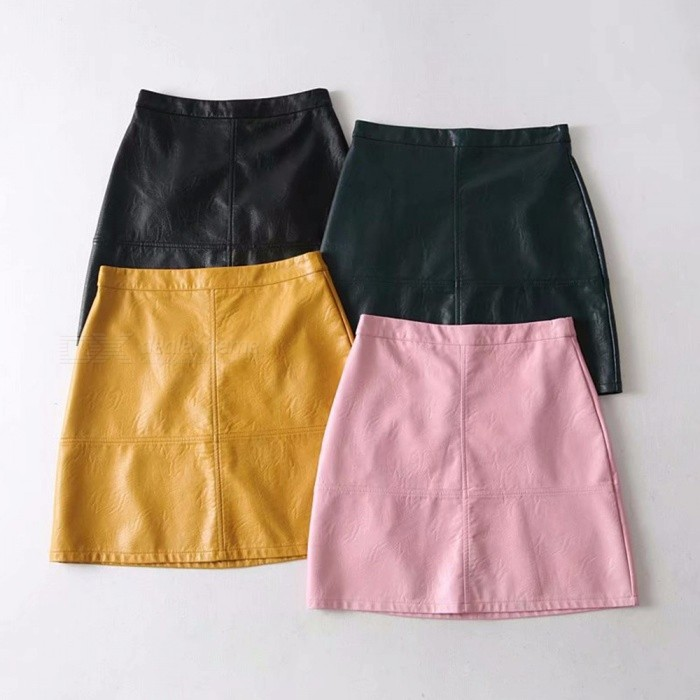 New Autumn Women\'s Mini Skirts Solid Color PU Leather A-Line Dress Black/M