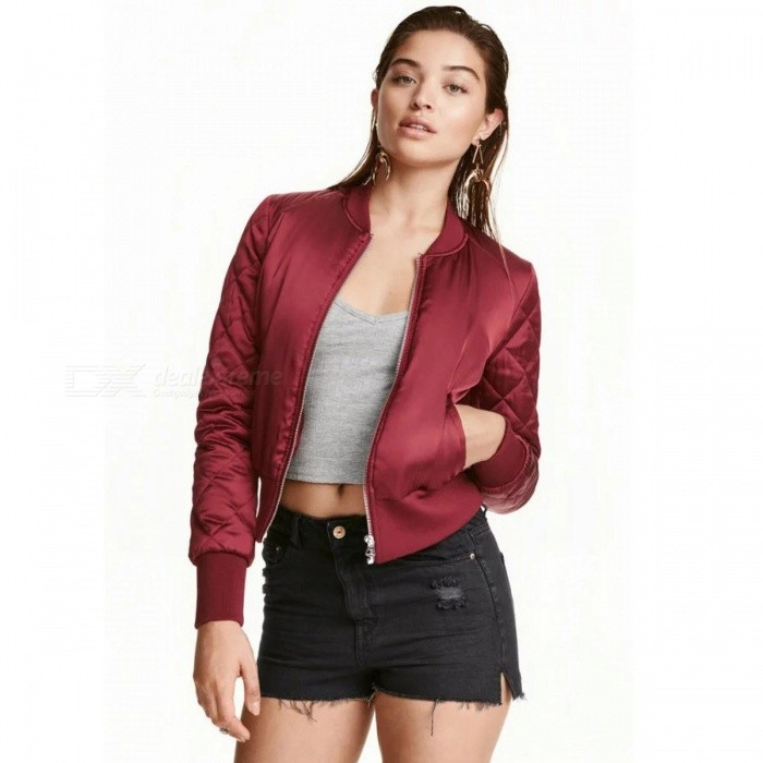 Bomber Quilted Jackets Ladies Short Thin Padded Baseball Flight ... 4829aac04