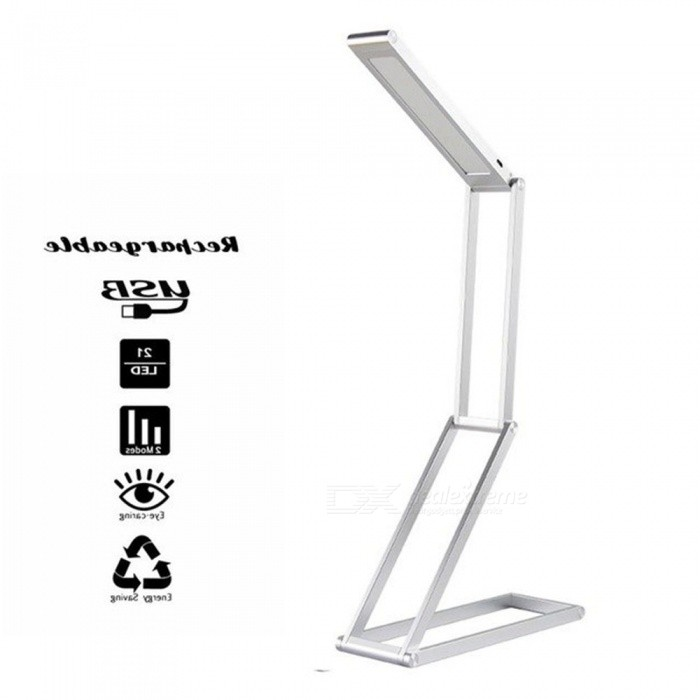 Rechargeable LED Desk Lamp Portable Dimmable LED Table Lamp Reading Light Aluminum Alloy 4-Folding Light Black/0-5W