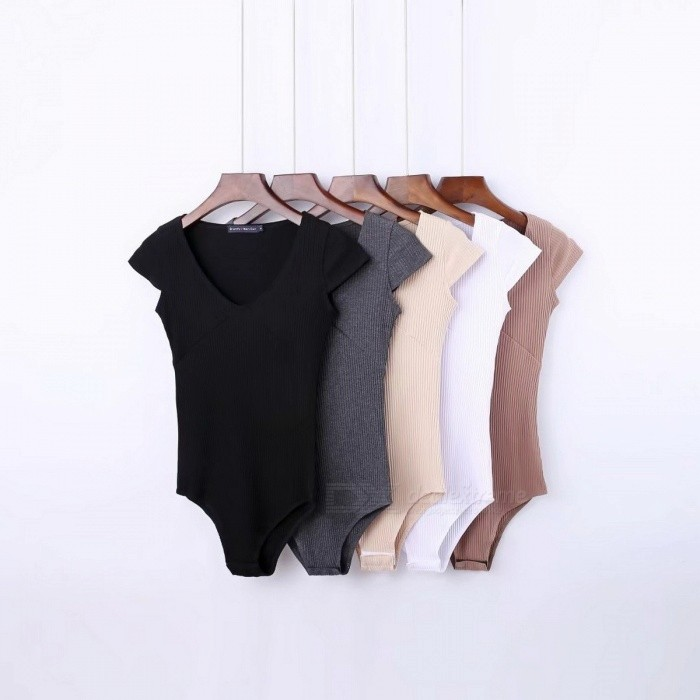 Fashion Wilds Skinny Solid Color Bodysuits Sexy V Neck Short Sleeve T Shirts Tight Triangle Piece Pants Briefs Jumpsuits Beige/S