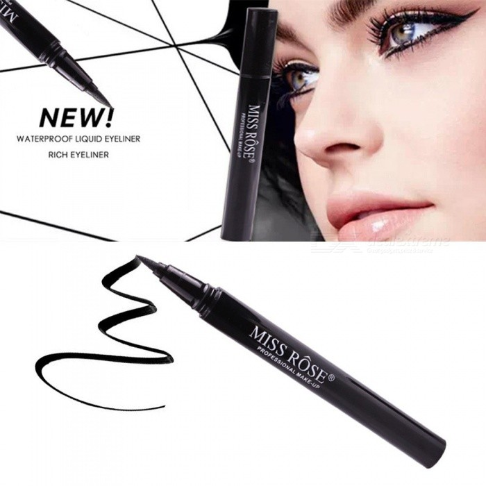 MISS ROSE 2ml Eyes Liner Make Up Pencil Waterproof Black Eyeliner Tool Black