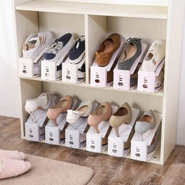 Household-Items-To-Thicken-Bracket-Receive-Shoe-Rack-Simple-Double-layer-Shoes-Storage-Rack-4-PCSSet-White
