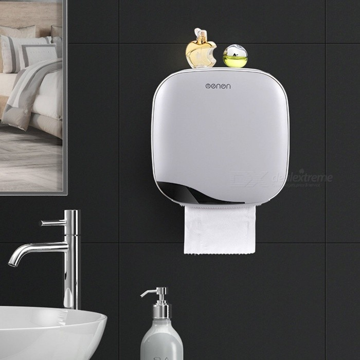 Hanging Storage Box Household Removable Waterproof Free Punch Wall Tissues Container Holder Bathroom Accessories White/M