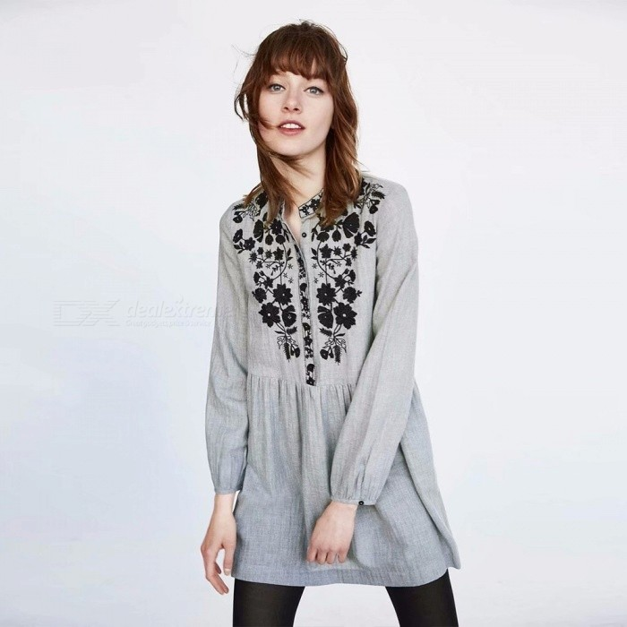 New Autumn Bohemian Long Puff Sleeve Mini Dress Embroidery High Waist O-Neck Dresses For Women Gray/S