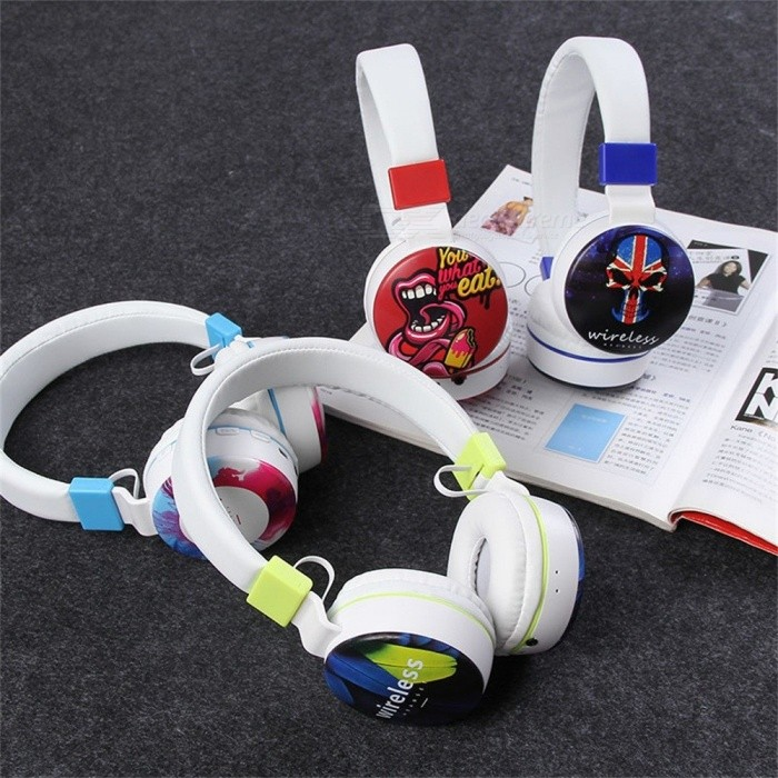 Cartoon Print Wireless Bluetooth Common Headphones Stereo Earphones For Mobile Phone Red