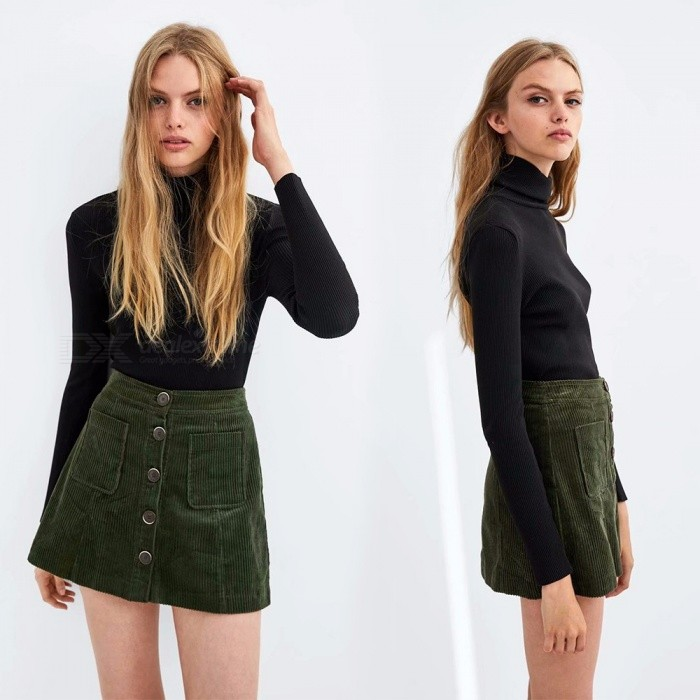 Winter Autumn Corduroy Skirts Fashion High Waist A-Line Button Casual Fashion Mini Dress With Pocket For Women Black/XS