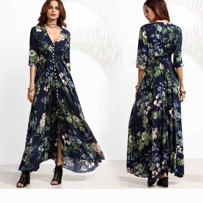 Autumn Retro Bohemia Dresses Floral Printed V-Neck Three Quarter Sleeve Dress For Women Navy Blue/S