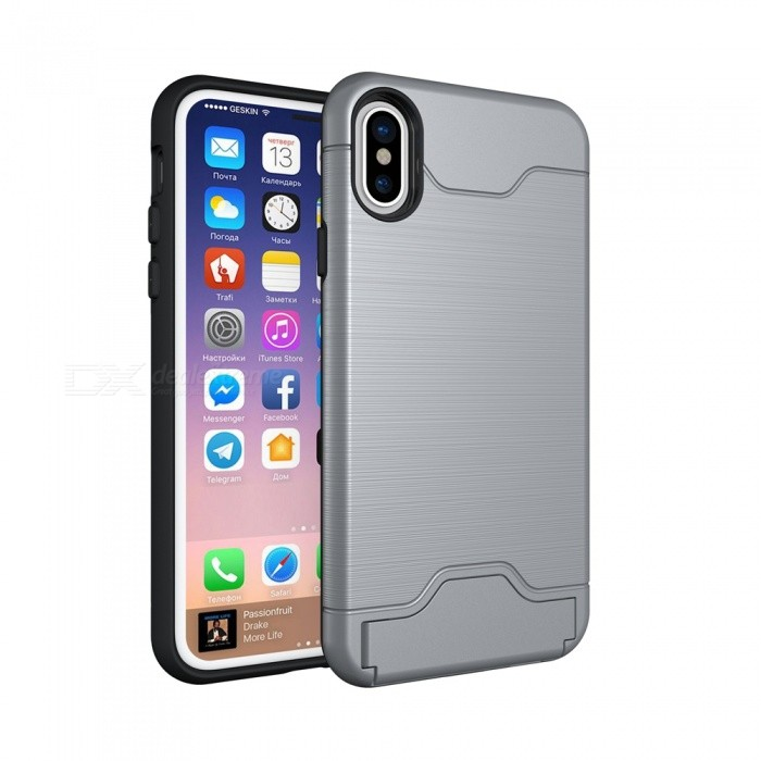 finest selection 1dc36 01668 Mini Smile PC + TPU 2 in 1 Shock-Proof Protection Back Case Cover W/ Card  Slot / Stand for iPhone XR - Gray