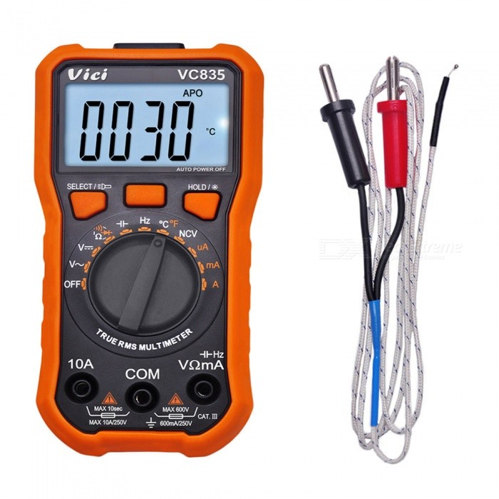 VICI VC835 3 1/2 Digital Multimeter T-RMS Multimeter Auto Ranging Temperature Tester with NCV Backlight Data Hold Flashlight