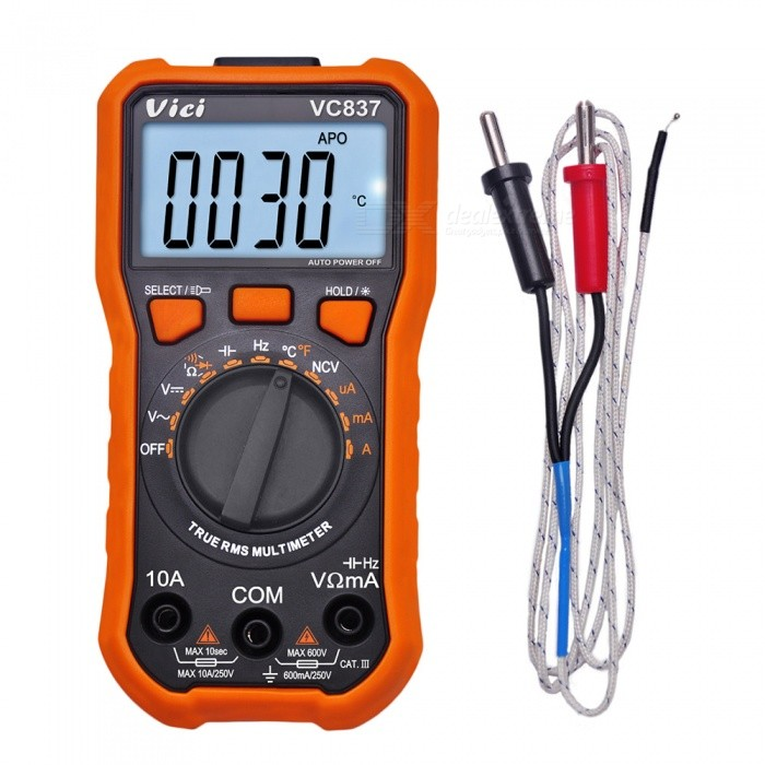 Vici VC837 True RMS 3 5/6 Auto Range Digital Multimeter Capacitance Resistance NCV Temperature Fequency Diode hFE Test
