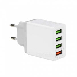 Cwxuan 18W Quick Charge 3.0 Mobile Phone Charger 4-Port USB EU Plug Fast Charging for IPHONE Xiaomi, Huawei, Vivo, Samsung