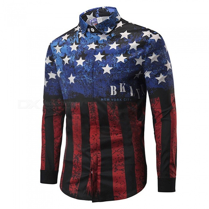 CXCY807005# Fashion Long Sleeve 3D Stars And Stripes Print Shirts, Casual Plus Size Men's Shirt