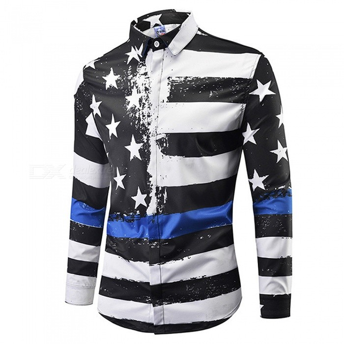CXCY807008# Fashion Long Sleeve 3D Black and white Stars And Stripes Print Shirts, Casual Plus Size Men's Shirt