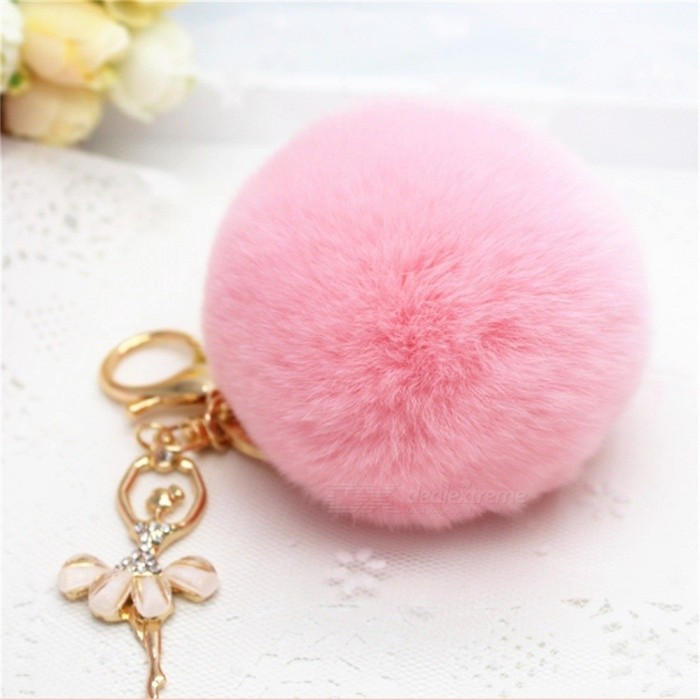 Creative Rhinestones Decorated Dancing Girl Charm Rex Rabbit Hair Keychain Keyring Light Green