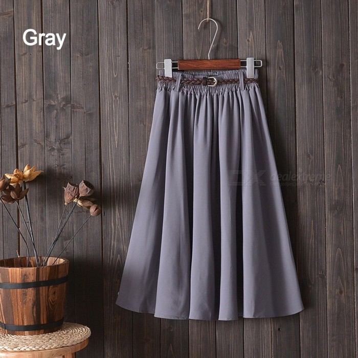 New College Pure Color Skirt Literature Students Girl Loose Mid-length A-Line Skirts With Belt For Women Black/One Size