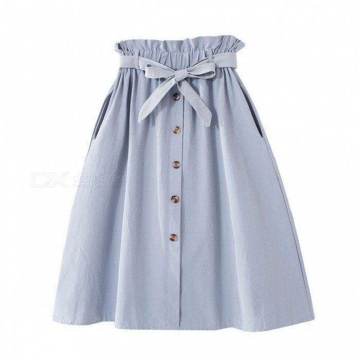 New Women\'s Knee-Length High Waist Bow Slim Dress Elastic Solid Color A-Line Casual Skirts Beige/One Size