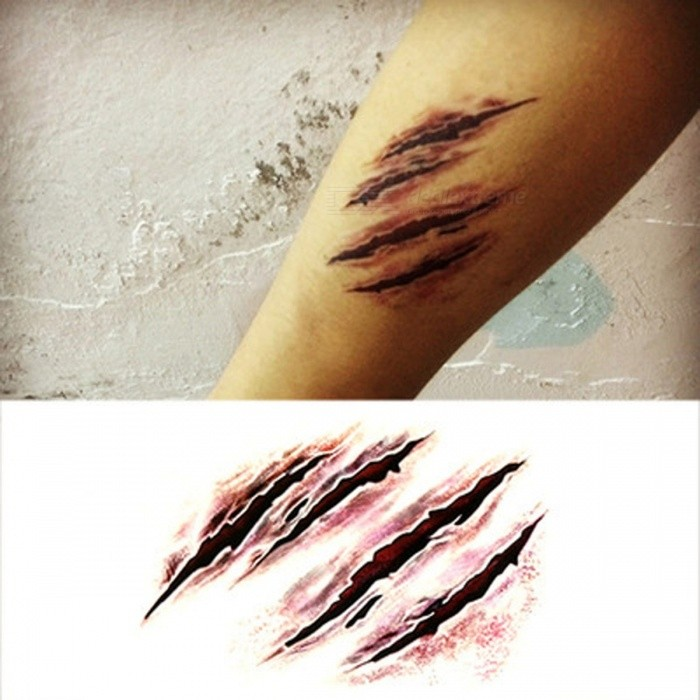 Halloween Tattoo Stickers Simulation Temporary Wound Scar Blood Suture Injury Decorate Waterproof