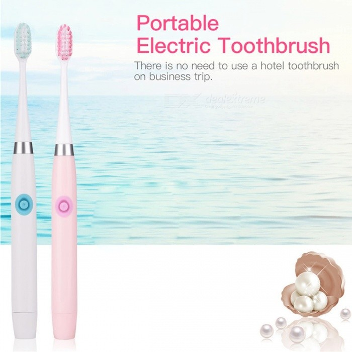 Portable Ultrasonic Sonic Electric Toothbrush, Waterproof Battery Powered Automatic Tooth Brush White