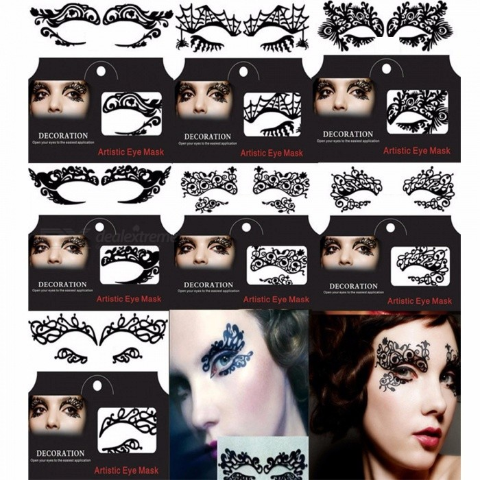 Hot Makeup Beauty Eye Shadow Stickers Sexy Face Lace Mask Temporary Tattoo Plum